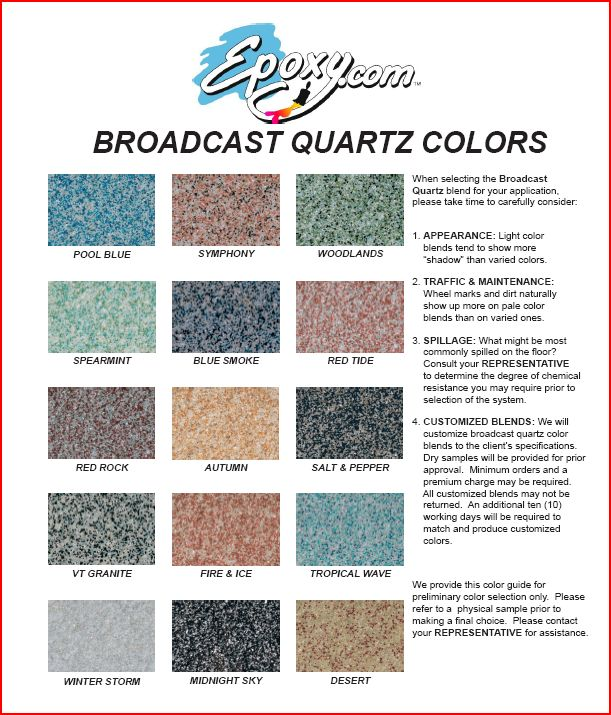 Epoxy Color Quartz Chart